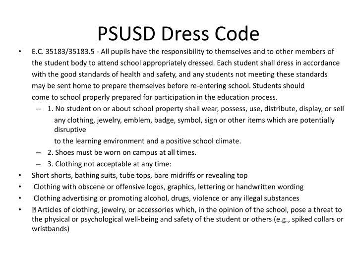 PSUSD Dress Code