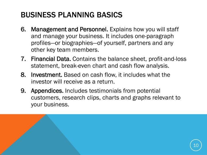 BUSINESS PLANNING BASICS