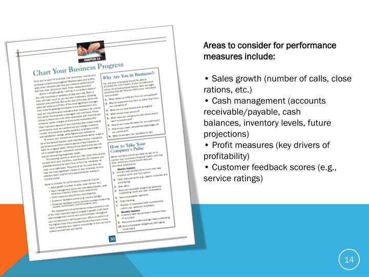 Areas to consider for performance measures include