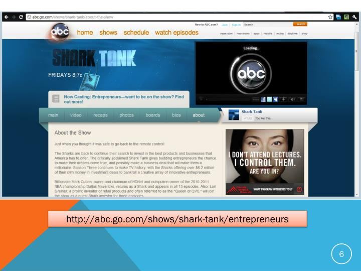 http://abc.go.com/shows/shark-tank/entrepreneurs