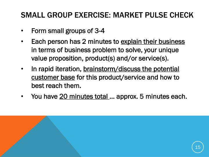 SMALL GROUP EXERCISE: MARKET PULSE CHECK