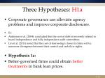 three hypotheses h1a
