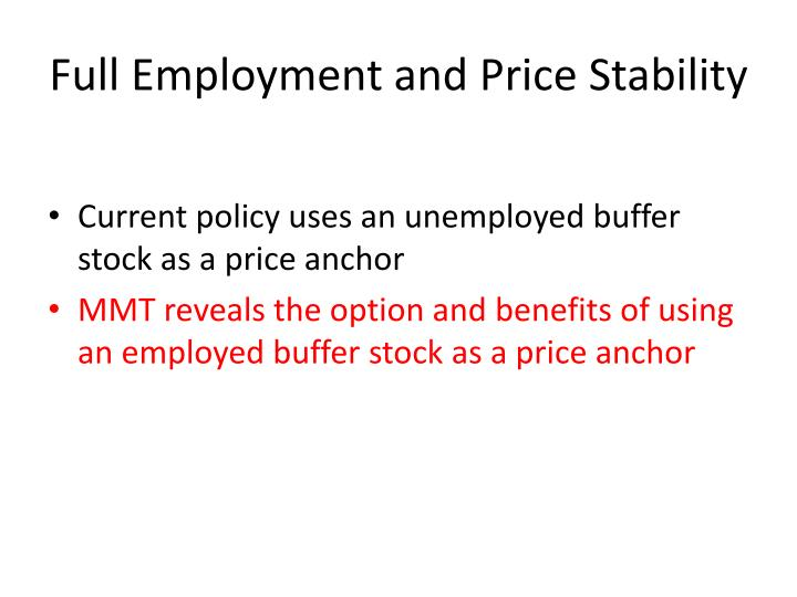 Full Employment and Price Stability