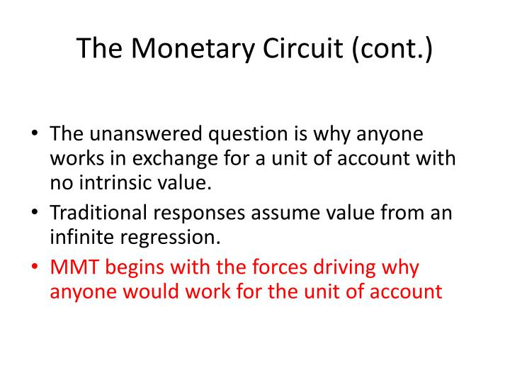 The Monetary Circuit (cont.)