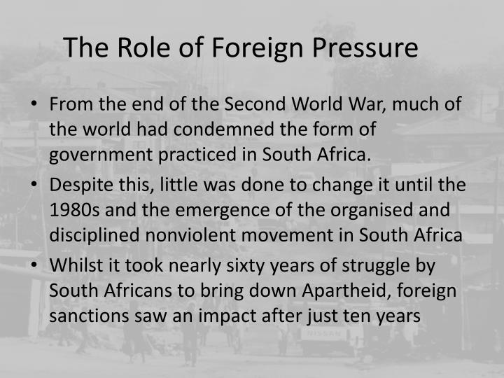 The Role of Foreign Pressure