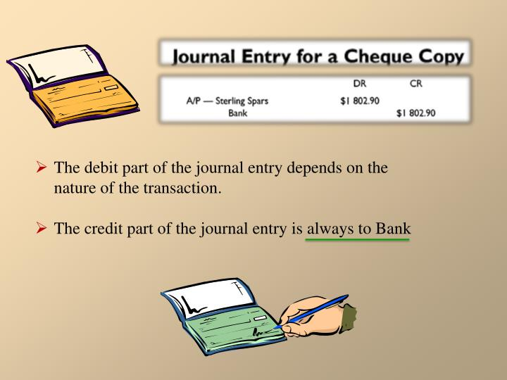 The debit part of the journal