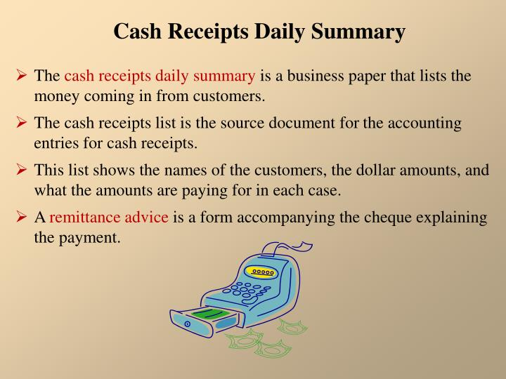 Cash Receipts Daily Summary