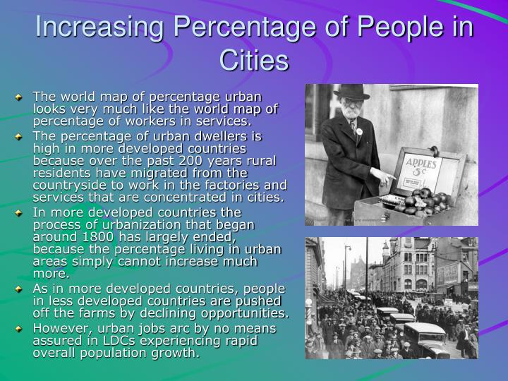 Increasing Percentage of People in Cities