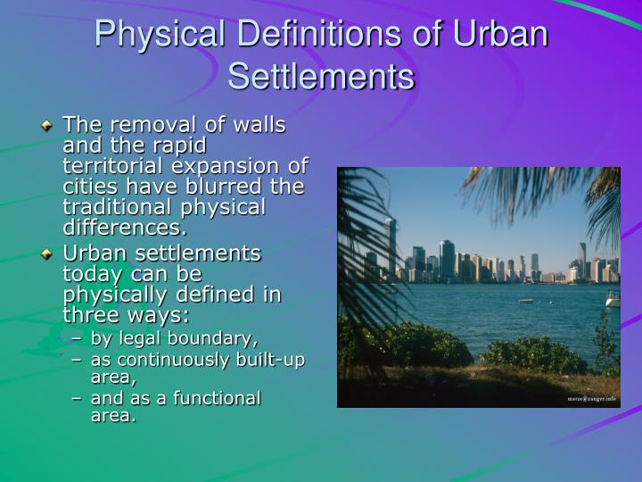Physical Definitions of Urban Settlements