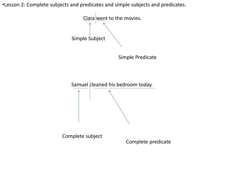 Lesson 2: Complete subjects and predicates and simple subjects and predicates.