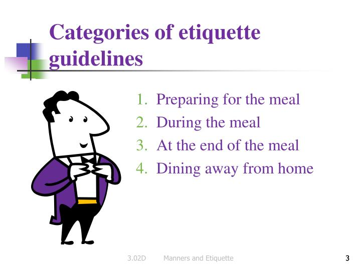 Categories of etiquette guidelines