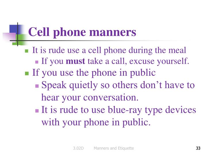 Cell phone manners
