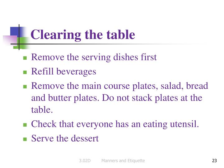 Clearing the table