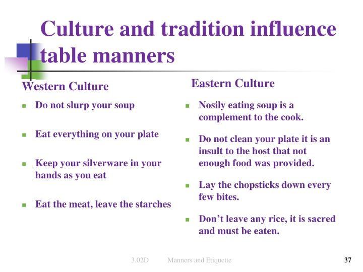 Culture and tradition influence table manners