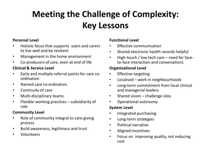Meeting the Challenge of Complexity: