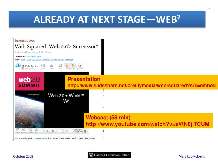 ALREADY AT NEXT STAGE—WEB