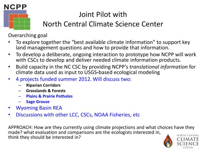 Joint pilot with north central climate science center