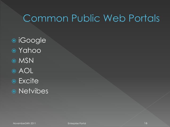 Common Public Web Portals