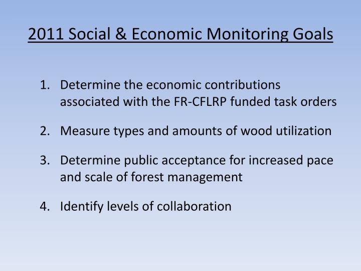 2011 Social & Economic Monitoring Goals