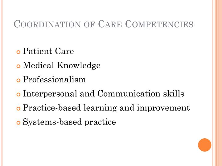 Coordination of Care Competencies