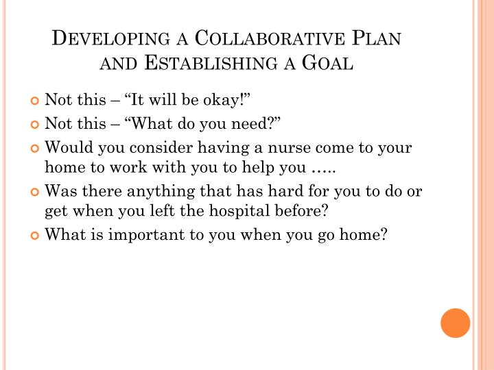 Developing a Collaborative Plan
