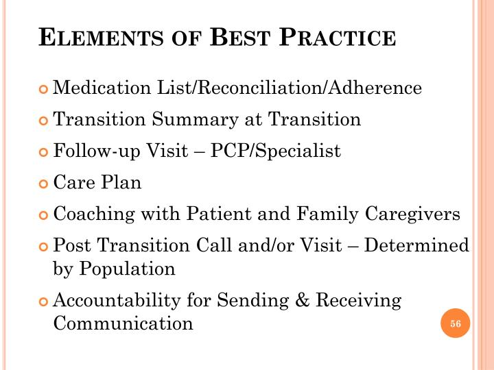Elements of Best Practice