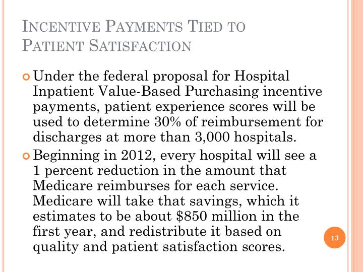 Incentive Payments Tied to Patient Satisfaction