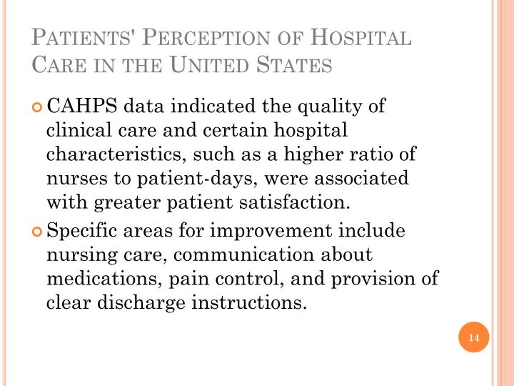 Patients' Perception of Hospital Care in the United States