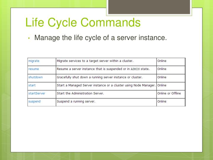 Life Cycle Commands