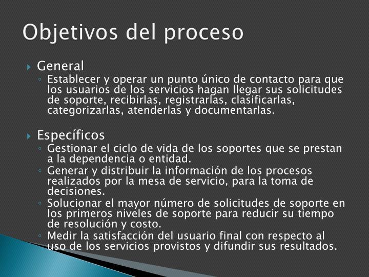 Objetivos del proceso