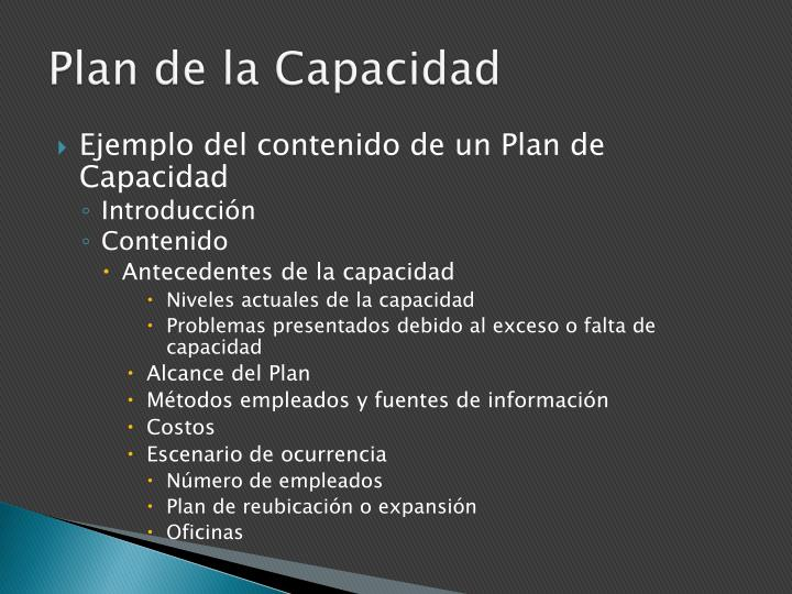 Plan de la Capacidad