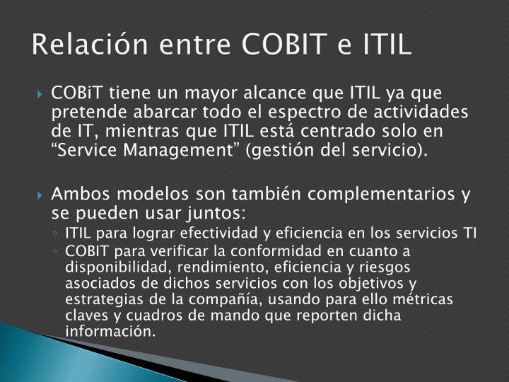 Relación entre COBIT e ITIL