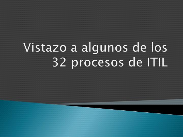 Vistazo a algunos de los 32 procesos de ITIL