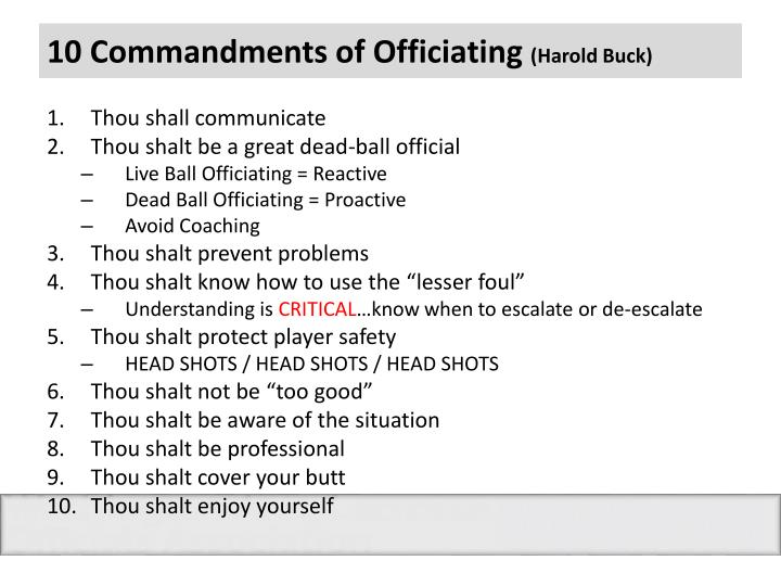 10 Commandments of Officiating