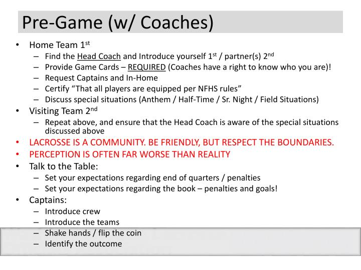 Pre-Game (w/ Coaches)