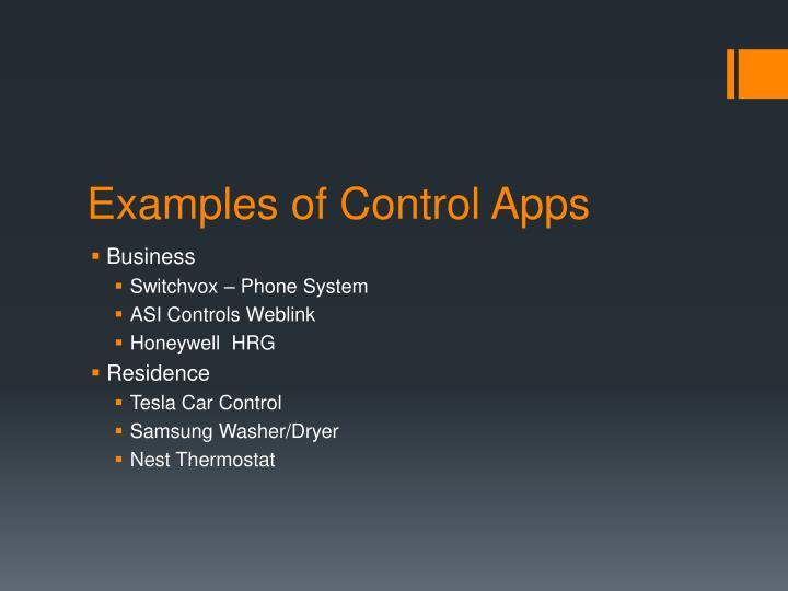 Examples of Control Apps