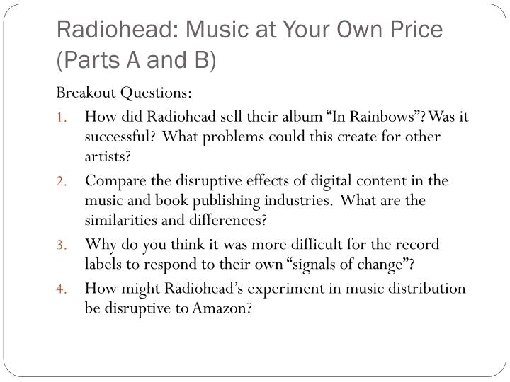 Radiohead music at your own price parts a and b