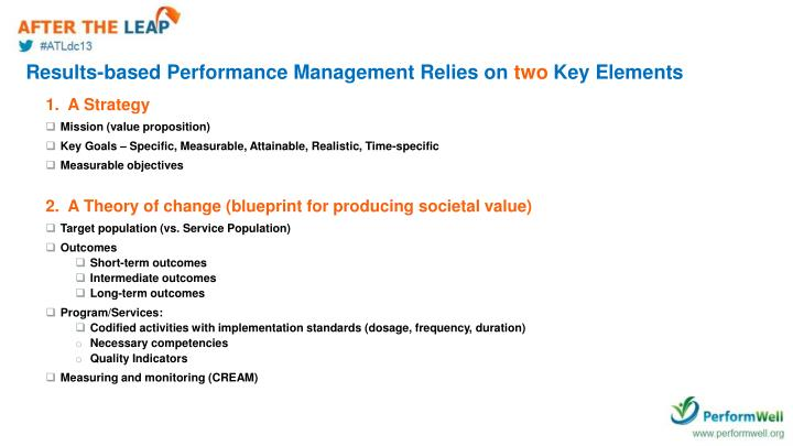 Results-based Performance Management Relies on