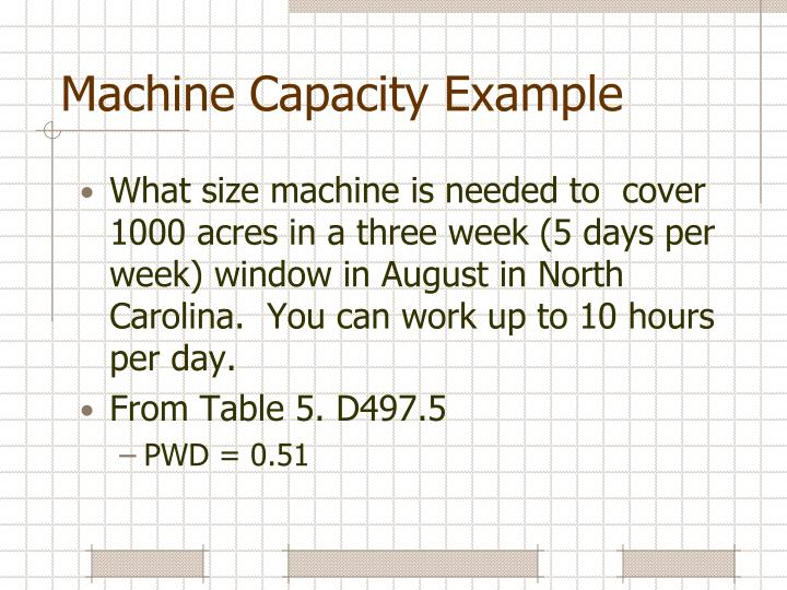 Machine Capacity Example