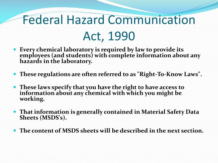 Federal Hazard Communication Act, 1990