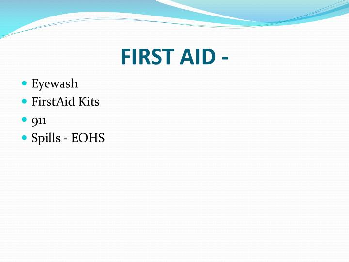 FIRST AID -