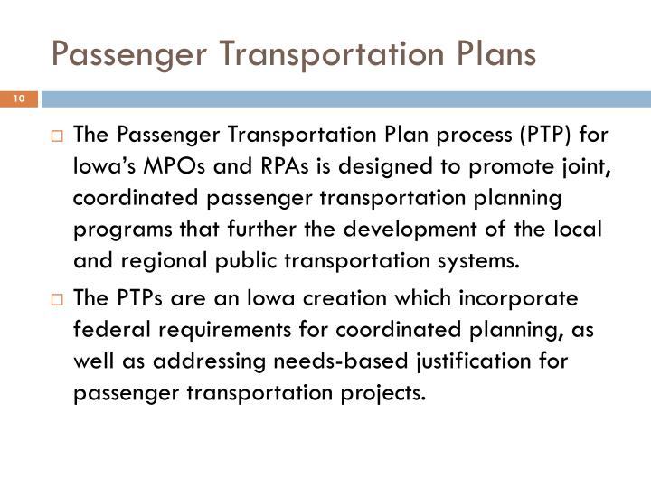 Passenger Transportation Plans