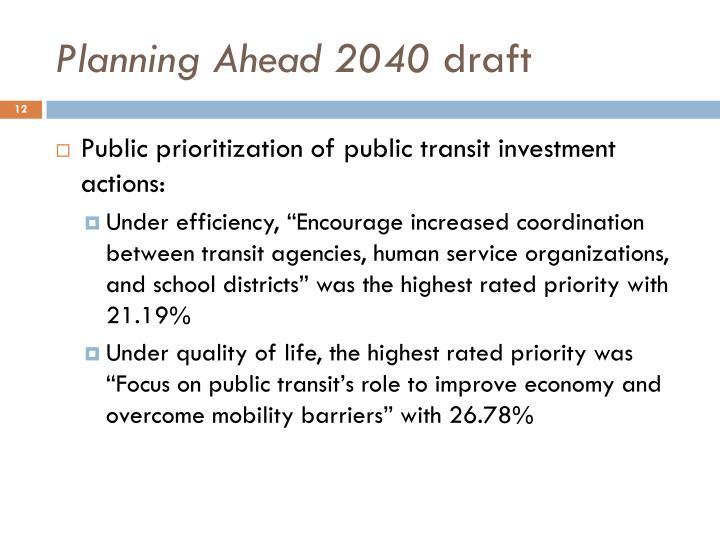 Planning Ahead 2040