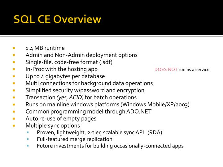 SQL CE Overview