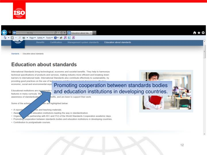 Promoting cooperation between standards bodies and education institutions in developing countries.