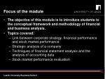 focus of the module