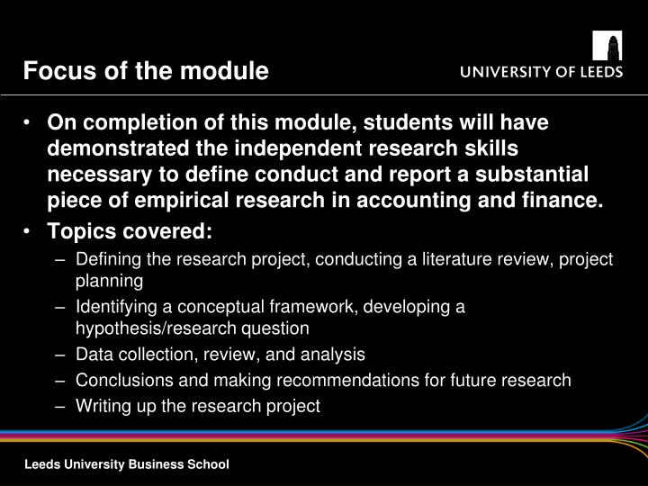 Focus of the module