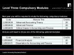 level three compulsory modules