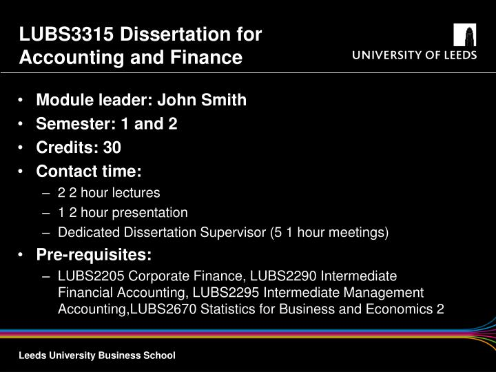 LUBS3315 Dissertation for Accounting and Finance