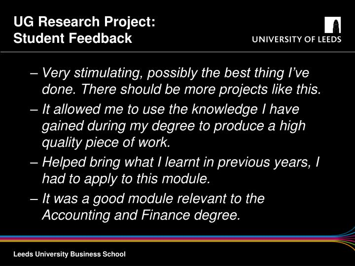 UG Research Project: